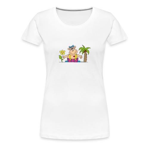 lustiges Nilpferd Sonnenblume Palme Hippo - Women's Premium T-Shirt