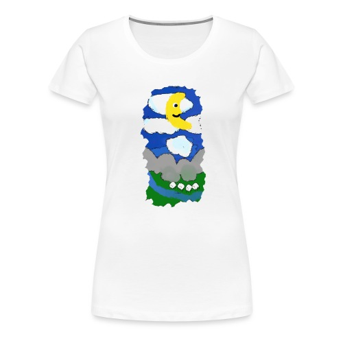 smiling moon and funny sheep - Women's Premium T-Shirt