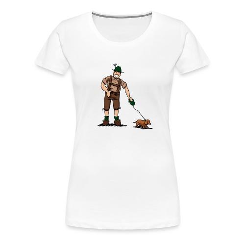 Bayer in Lederhosen mit Dackel - Frauen Premium T-Shirt