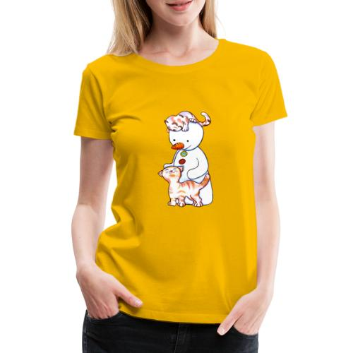 Deux petits chats et Jou le bonhomme de neige - T-shirt Premium Femme