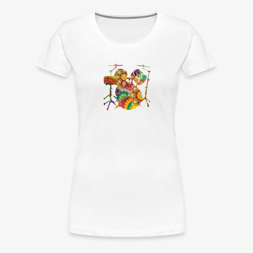 psychedelisches Schattenbild Schlagzeug - Frauen Premium T-Shirt