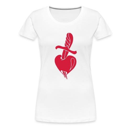 Broken Hearts Love Hate Tattoo Knife blood dagger - Frauen Premium T-Shirt