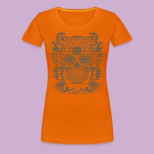 SKULL FLOWERS LEO - Frauen Premium T-Shirt