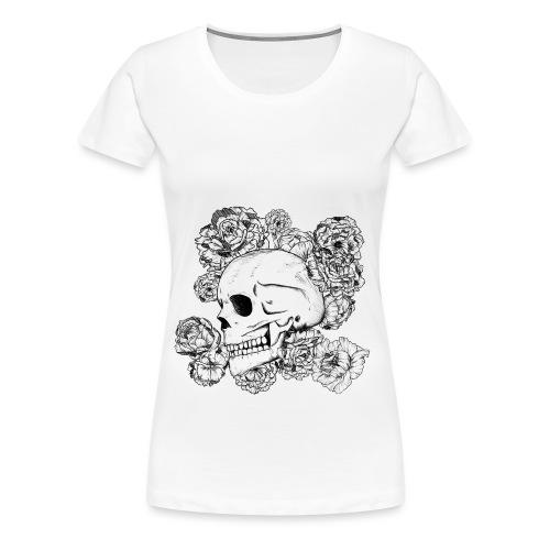 Teschio con fiori, disegno in inchiostro nero - Maglietta Premium da donna