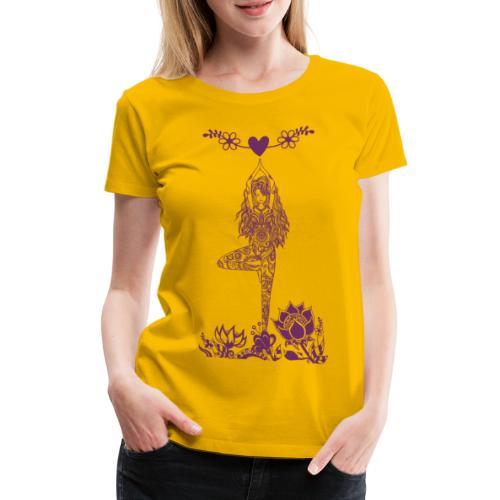 Yogagirl in Baum Asana mit Blumen und Herz - Frauen Premium T-Shirt