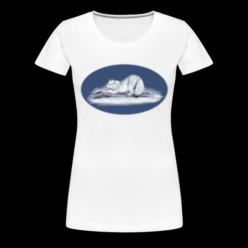 Arctic Fox on snow - Women's Premium T-Shirt