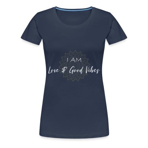 I am love and good vibes white gold - Frauen Premium T-Shirt