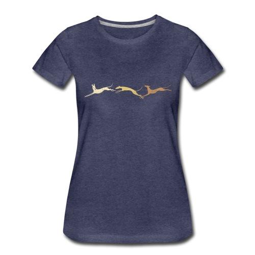 3 springende braune Windhunde - Frauen Premium T-Shirt