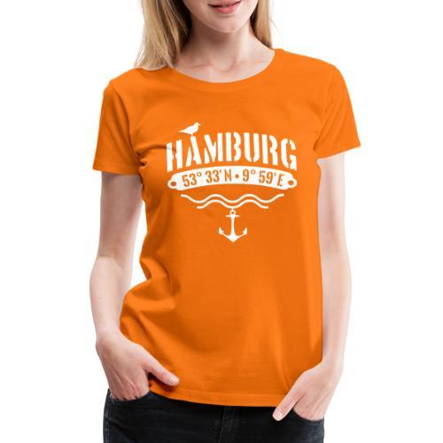 Hamburg Koordinaten Anker Möwe Längengrad - Frauen Premium T-Shirt
