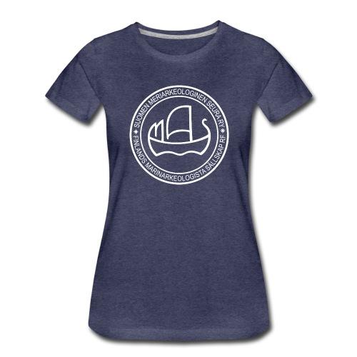 Suomen meriarkeologisen seuran valkoinen logo - Naisten premium t-paita