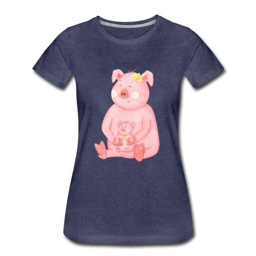 Schweinemama mit Ferkel - Frauen Premium T-Shirt
