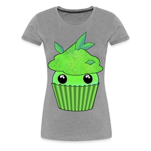 grön Kawaii Cupcake med mynta eller gröna te blad - Premium-T-shirt dam