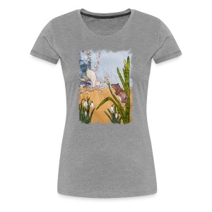 Mice and Pussy Willows Design - Women's Premium T-Shirt