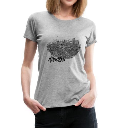 München / Munich City – Stadtansicht Skizze - Frauen Premium T-Shirt