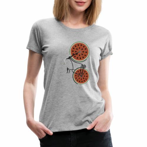 Retro Fahrrad mit Melonen Rädern - Frauen Premium T-Shirt