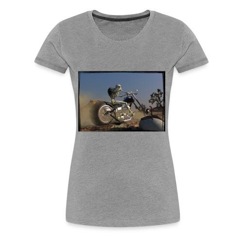 Naked Rider mit Rahmen auf schwarzem Grund - Frauen Premium T-Shirt