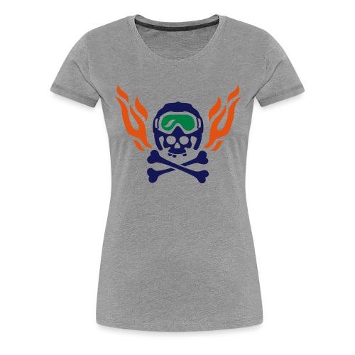Totenkopf mit Skihelm, Skibrille und Flammen - Frauen Premium T-Shirt