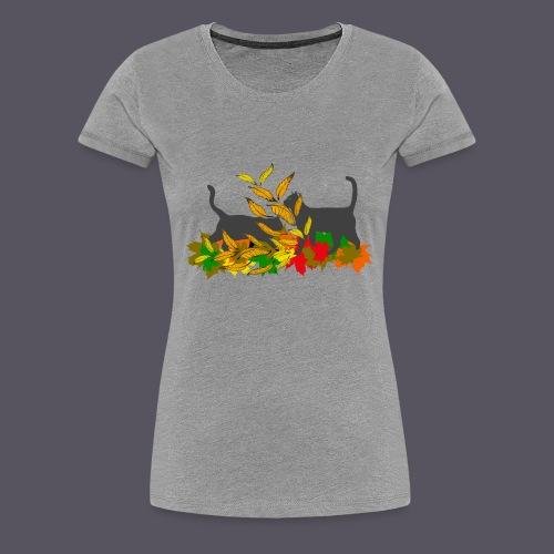 spielende Katzen in bunten Blättern - Frauen Premium T-Shirt