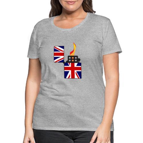 Union Jack Flag Open Cigarette Lighter - Women's Premium T-Shirt