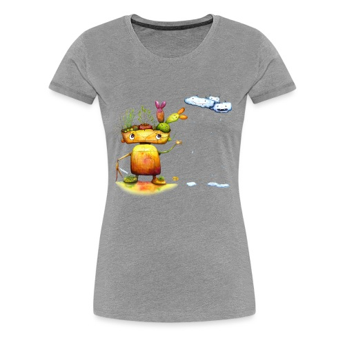 Robot with his plant friends - Vrouwen Premium T-shirt