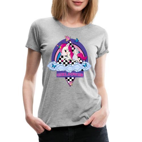 Einhorn mit Girl Power - Frauen Premium T-Shirt