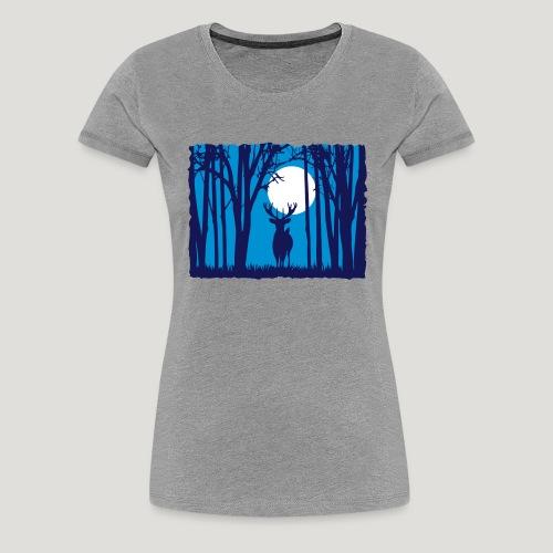 Sonnenuntergang mit Hirsch im Wald Rehbock Natur - Frauen Premium T-Shirt