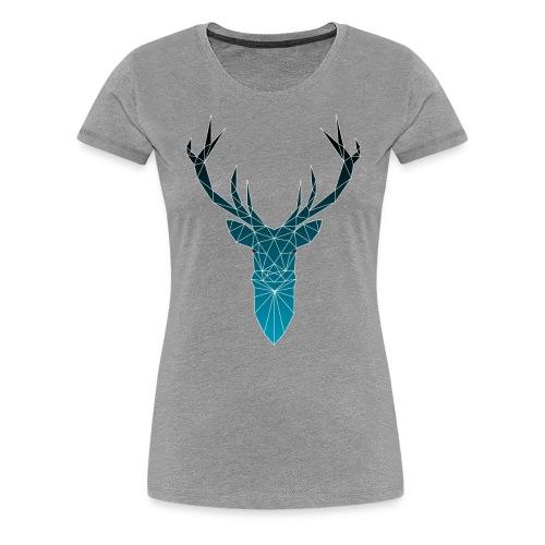 Hirsch blau im Triangel-Design - Frauen Premium T-Shirt