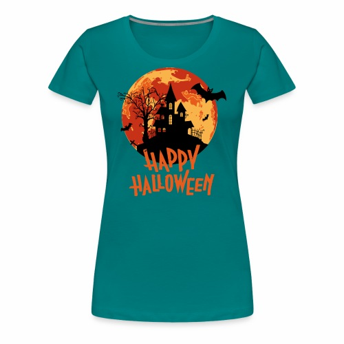 Bloodmoon Haunted House Halloween Design - Frauen Premium T-Shirt