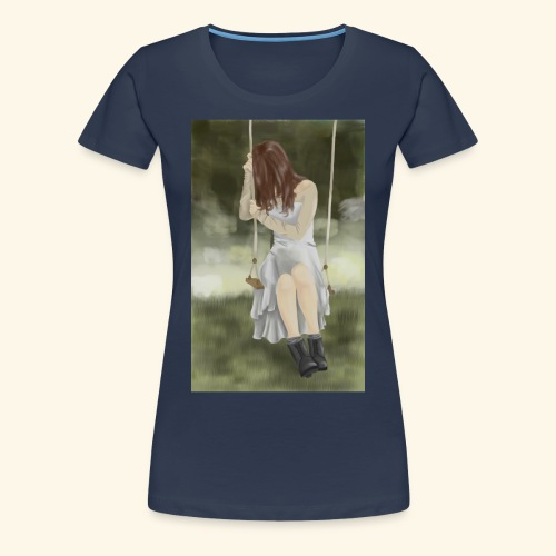 Sad Girl on Swing - Women's Premium T-Shirt