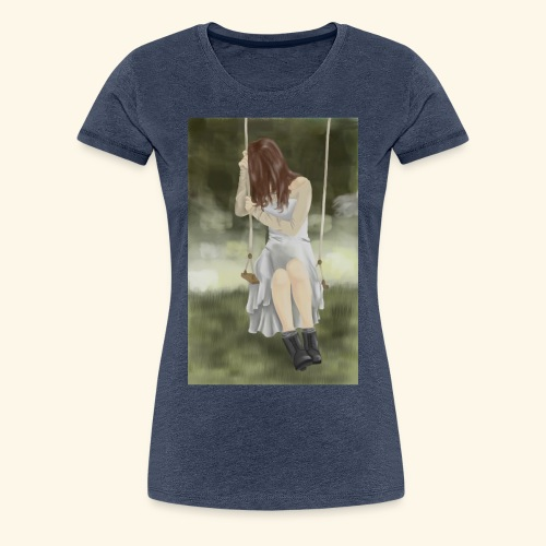 Sad Girl on Swing - Women's Premium T-Shirt
