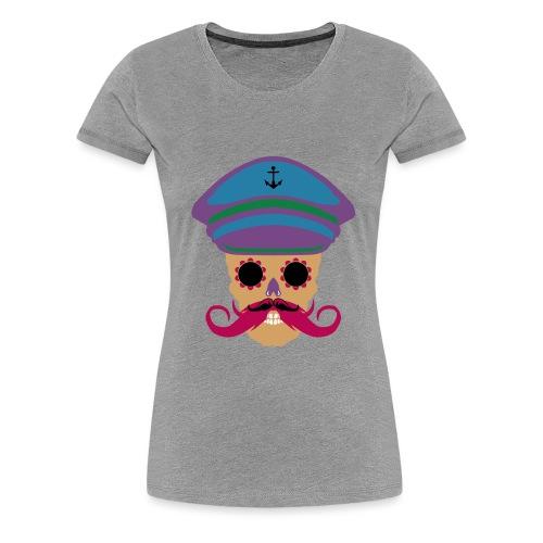 tete de mort fantaisie crane dessin kepi moustache - T-shirt Premium Femme