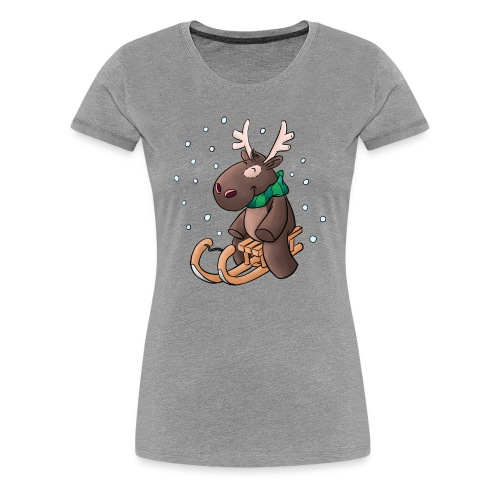 Elch - Kuschelelch mit Schlitten - Frauen Premium T-Shirt