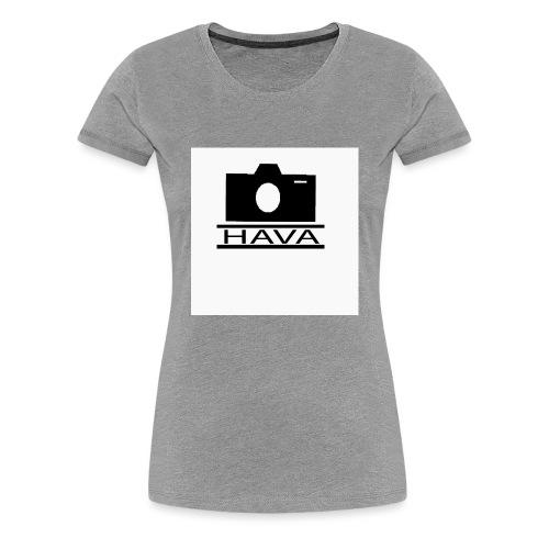 HAVA loggo svart vit - Premium-T-shirt dam