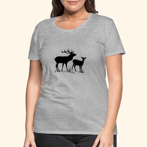 Hirsch, Reh, Rotwild, Damwild, Wald, Tiere, Rehe - Frauen Premium T-Shirt
