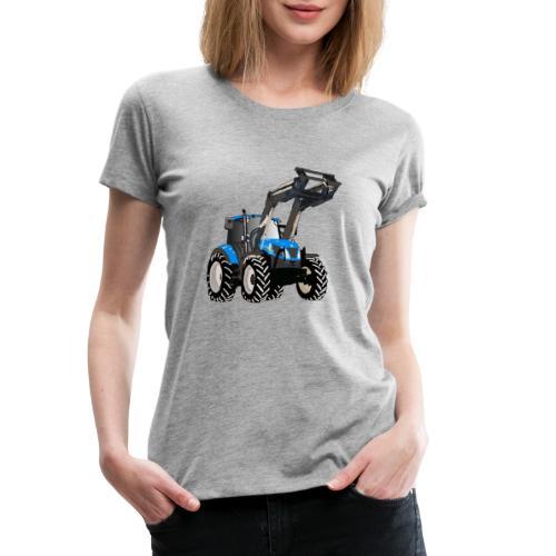 Blauer Traktor mit Frontlader - Frauen Premium T-Shirt