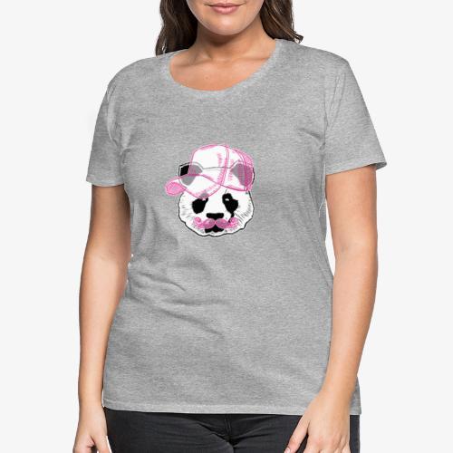 Panda - Pink - Cap - Mustache - Frauen Premium T-Shirt