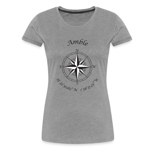 Amble, Northumberland Compass (black) - Women's Premium T-Shirt