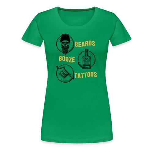 Beards Booze Tattoos Fathers Day Gift - Frauen Premium T-Shirt