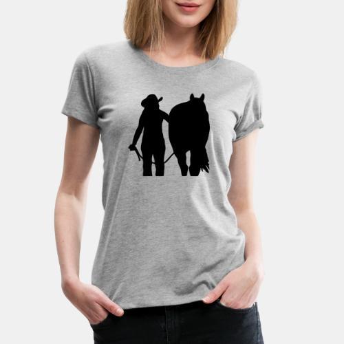 Westernreiterin mit Pferd individualisierbar - Frauen Premium T-Shirt