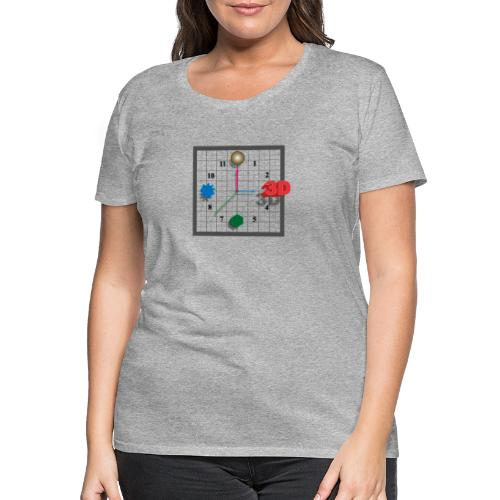 3D O'Clock, Square shape, with numbers and models. - Women's Premium T-Shirt