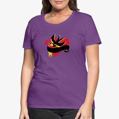 retro tattoo bird with heart - Women's Premium T-Shirt