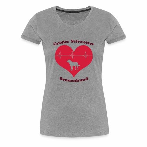 Großer Schweizer Sennenhund Herz und Schriftzug - Frauen Premium T-Shirt