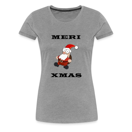 Frohe Weinachten Weihnachtsmann Schwarz - Frauen Premium T-Shirt