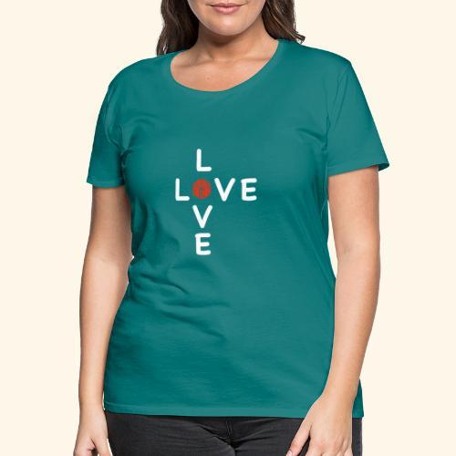 LOVE Cross white wuerfel red 001 - Frauen Premium T-Shirt