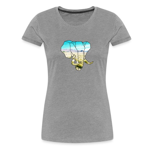 Elefant mit Steppe - Frauen Premium T-Shirt