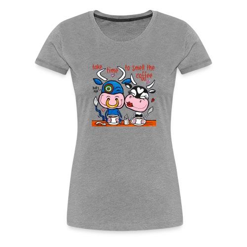 Verliefde koeien drinken koffie - Vrouwen Premium T-shirt