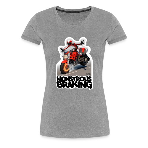Ducati Monster, a motorcycle stoppie. - Camiseta premium mujer