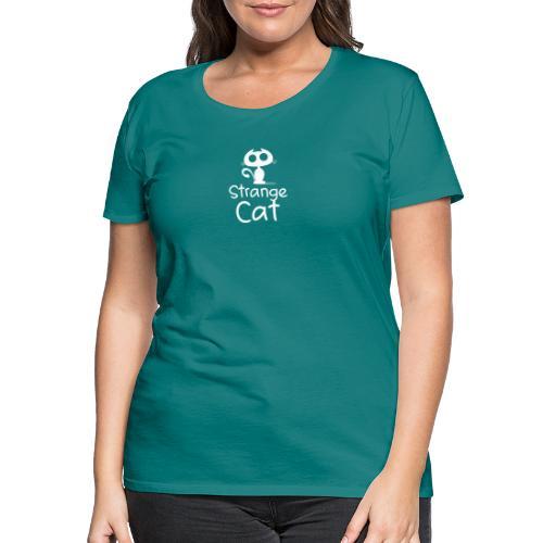 Strange Cat Blanc - T-shirt Premium Femme