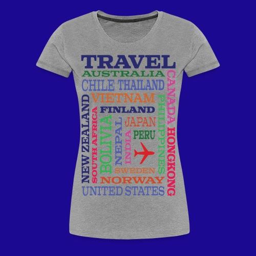 Travel Places design - Naisten premium t-paita