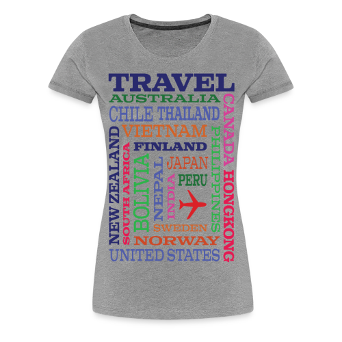 Travel Places design - Naisten premium t-paita